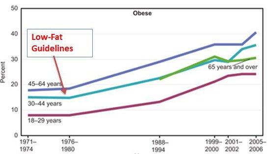 Graf vývoja obezity a korelácie s odporúčaniami pre nízkotucnú výživu a nízke hladiny cholesterolu